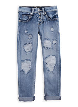 Girls 4-6x 4 Button Frayed Jeans - 3628063400005
