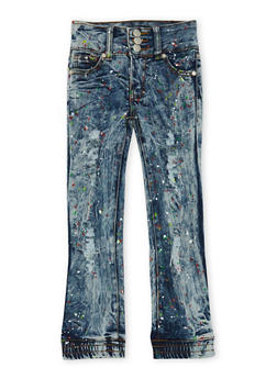 Girls 4-6x Distressed Skinny Jeans with Paint Splatter and Elastic Hems - 3628063409758