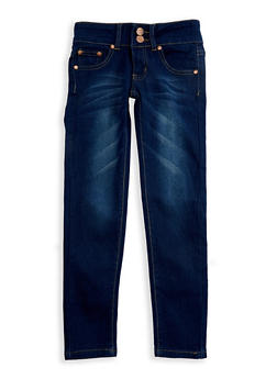 Girls 4-6x 2 Button Whisker Wash Skinny Jeans - 3628073420007