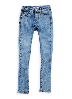 Girls 7-16 Acid Wash Skinny Jeans - LIGHT WASH - 3629056720009