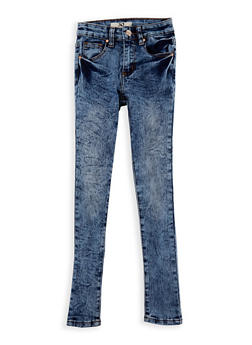 Girls 7-16 Acid Wash Skinny Jeans - MEDIUM WASH - 3629056720009