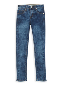Girls 7-16 Acid Wash Skinny Jeans - DARK WASH - 3629056720009