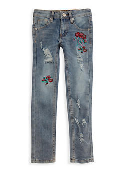Girls 7-16 Embroidered Light Wash Skinny Jeans - 3629063370002