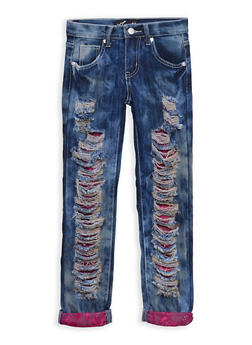 Girls 7-16 Acid Wash Destroyed Jeans with Lace Underlay - 3629063400012