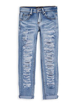 Girls 7-16 Whisker Washed Destroyed Jeans - 3629063400013