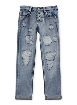 Girls 7-16 4 Button Ripped Jeans - 3629063400015