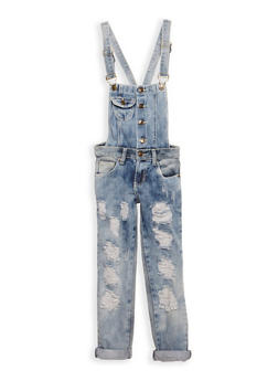 Girls 7-16 Destroyed Denim Overalls - 3629063400034