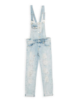 Girls 7-16 Ripped Light Wash Denim Overalls - 3629063400035