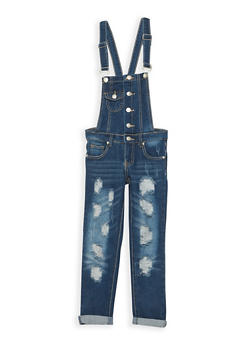 Girls 7-16 Ripped Medium Wash Denim Overalls - 3629063400036