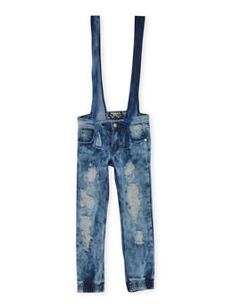 Girls 7-16 Distressed Denim Joggers with Removable Overalls - 3629063409763