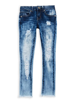 Girls 7-16 VIP Frayed Hem Jeans - 3629065300004