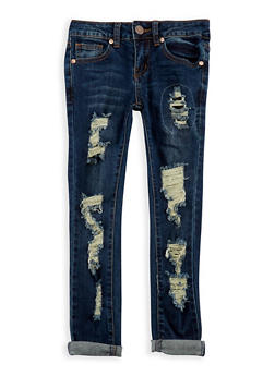 Girls 7-16 VIP Rip and Repair Skinny Jeans - 3629065300035