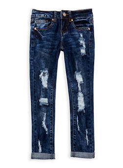 Girls 7-16 VIP Destroyed Roll Cuff Jeans - 3629065300036