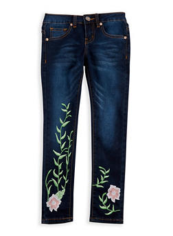 Girls 7-16 VIP Dark Blue Embroidered Skinny Jeans - 3629065300042