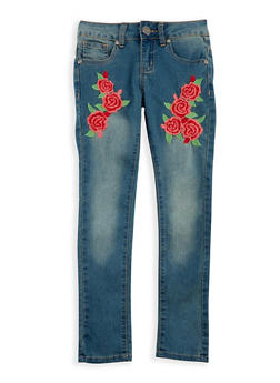 Girls 7-16 VIP Embroidered Skinny Jeans - 3629065300043