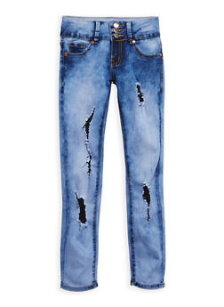 Girls 7-16 VIP Distressed Cloud Wash Jeans - 3629065300044