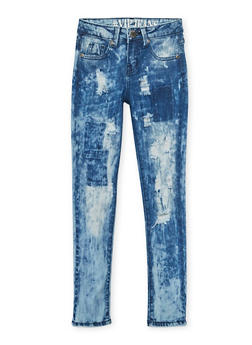 Girls 7-16 VIP Acid Wash Distressed Skinny Jeans - 3629065300046