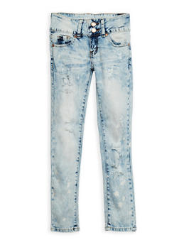 Girls 7-16 VIP 2 Button Distressed Acid Wash Jeans - 3629065300048