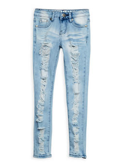 Girls 7-16 VIP Ripped Light Wash Skinny Jeans - 3629065300049