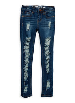 Girls 7-16 VIP Ripped Dark Blue Skinny Jeans - 3629065300050