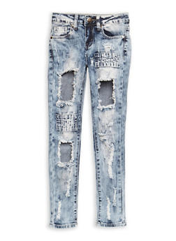 Girls 7-16 VIP Ripped Acid Wash Jeans - 3629065300052