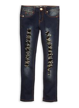 Girls 7-16 VIP Frayed Skinny Jeans - 3629065300057