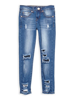 Girls 7-16 VIP Ripped Whisker Wash Jeans - 3629065300058