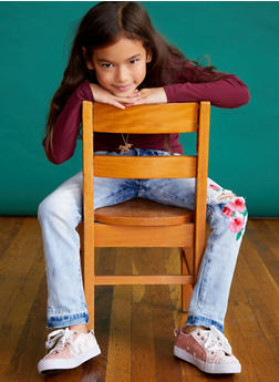 Girls 7-16 VIP Flower Embroidered Jeans - 3629065300061