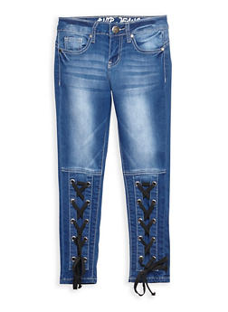 Girls 7-16 VIP Lace Up Skinny Jeans - 3629065300065