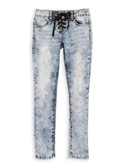 Girls 7-16 VIP Lace Up Skinny Jeans - 3629065300066