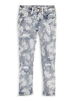 Girls 7-16 VIP Floral Frayed Jeans - 3629065300067