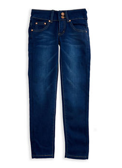 Girls 7-16 2 Button Whisker Wash Skinny Jeans - 3629073420003