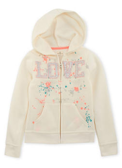 Girls 7-16 Hoodie with Paint Splatter Graphic - 3631061950005