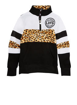 Girls 7-16 Love Graphic Color Block Top With Leopard Print Accents - 3631063400003