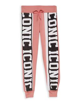 Girls 7-16 Iconic Graphic Fleece Lined Sweatpants - 3631063400035