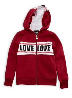Girls 7-16 Long Sleeve Hooded Love Zip Up Sweatshirt - 3631063400046