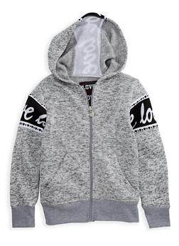 Girls 7-16 Marled Love Graphic Zip Front Hoodie - 3631063400050