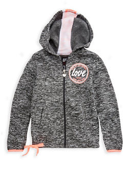 Girls 7-16 Long Sleeve Hooded Love Graphic Zip Up Sweatshirt - 3631063400052