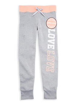 Girls 7-16 Love Graphic Joggers with Contrast Waistband - 3631063400057