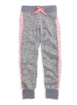 Girls 7-16 Love Graphic Fleece Knit Joggers - 3631063400065