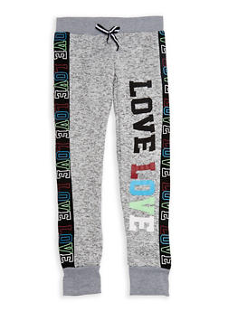 Girls 7-16 Marled Multi Color Love Graphic Joggers - 3631063400067
