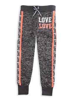 Girls 7-16 Love Graphic Fleece Knit Joggers - 3631063400069