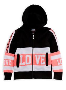 Girls 7-16 Long Sleeve Hooded Love Zip Up Sweatshirt - 3631063400070