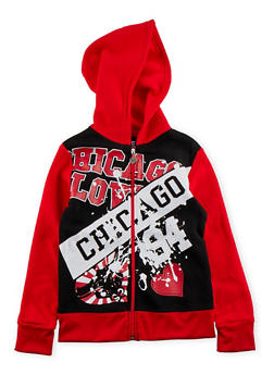 Girls 7-16 Hoodie with Chicago Love Graphic - 3631063401417