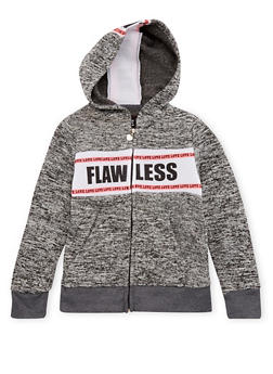 Girls 10-16 Zip Front Hoodie with Flawless and Love Graphic - 3631063401421
