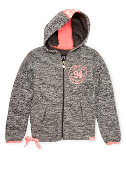 Girls 7-16 Marled Knit Hoodie with Love Graphic - 3631063401423