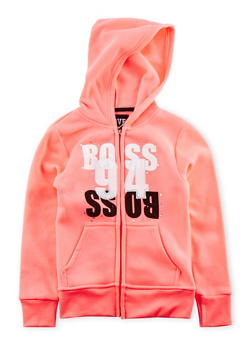 Girls 7-16 Zip Front Hoodie with Boss 94 Graphic - 3631063401425