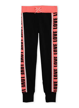 Girls 6X-16 Love Print Joggers - 3631063401432