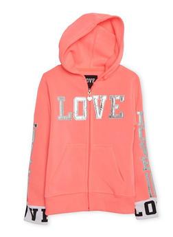 Girls 7-16 Love Graphic Hoodie - 3631063401439