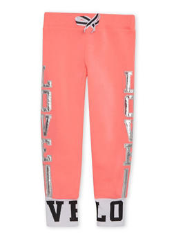Girls 7-16 Joggers with Metallic Love Appliques - 3631063401440